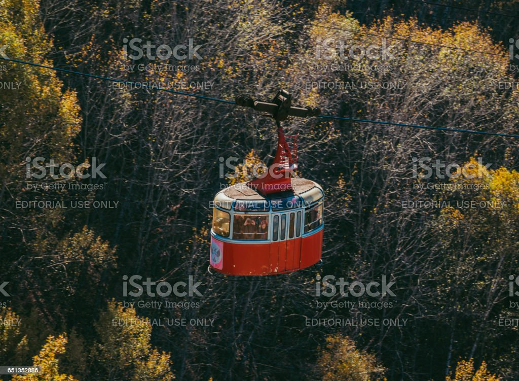 Landscape of the Kislovodsk Resort Park. Tourists enjoy a view from cable car of the Resort Park and cableway. stock photo