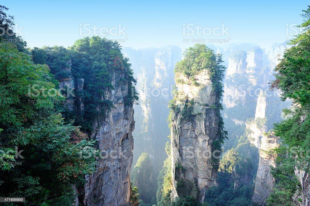 Landscape of the mountains, Zhangjiajie National Park, China stock photo