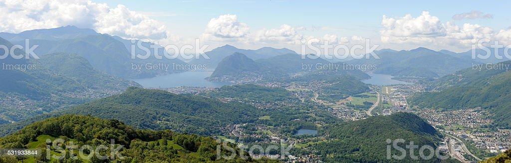 Landscape of the region of Lugano stock photo