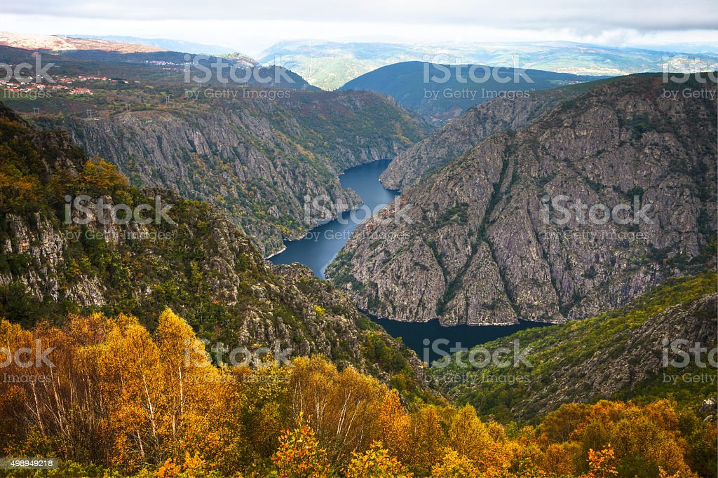 Landscape of the Ribeira Sacra (Sil River Canyons) in Ourense stock photo