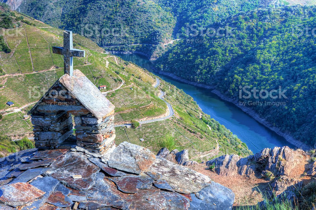 Landscape of the Ribeira Sacra (Sil River Canyons) stock photo