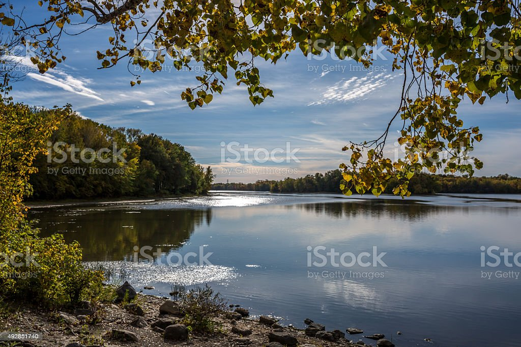 Landscape of the Rivière-des-Prairies river, Laval, Quebec stock photo
