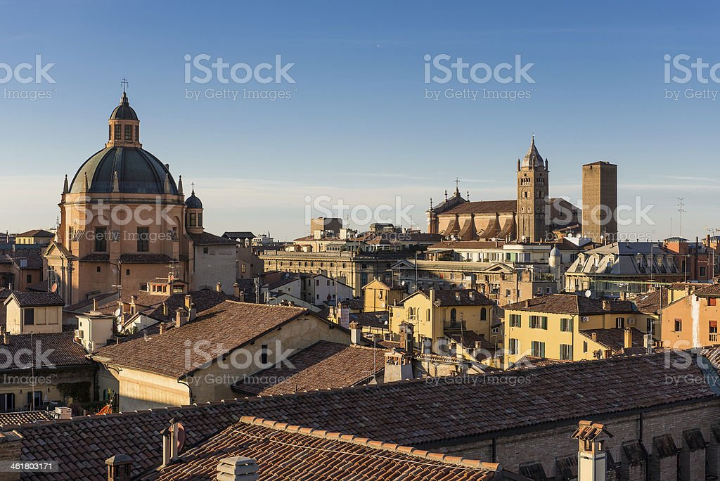 Landscape of the rooftops of Bologna, Italy stock photo