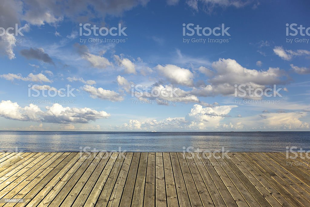 Landscape of the sea from a deck stock photo