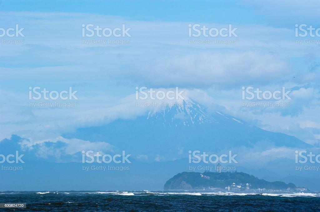 Landscape of the sea, Mt. Fuji and Enoshima stock photo