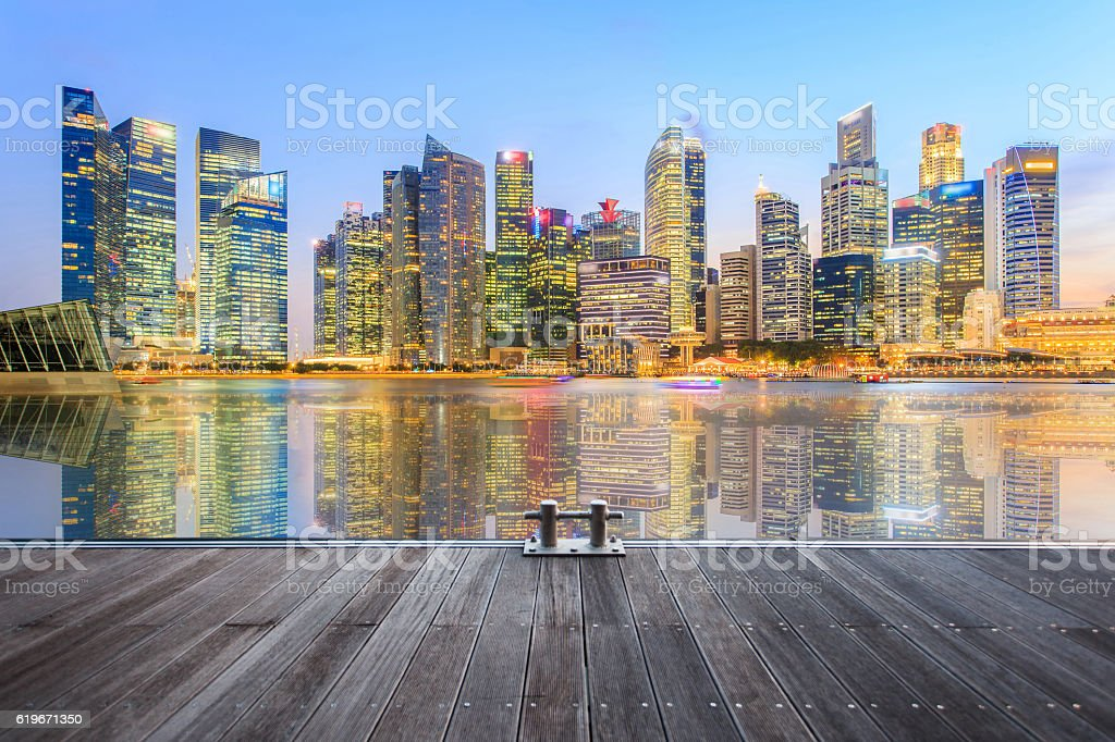 Landscape of the Singapore financial distric stock photo
