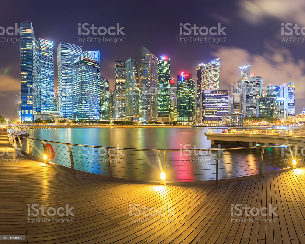 Landscape of the Singapore financial district stock photo