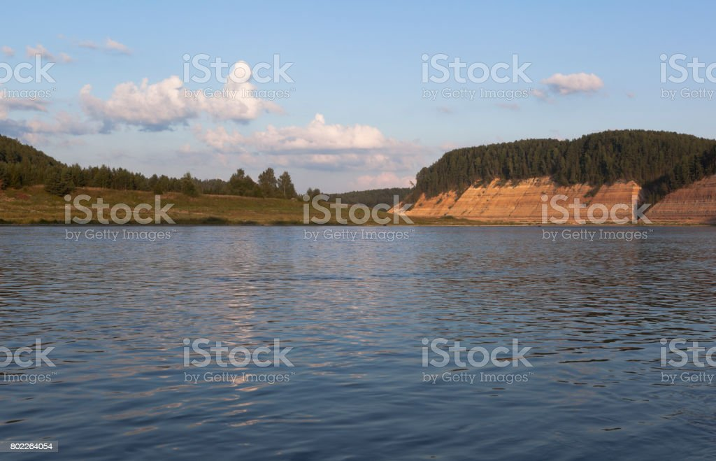 Landscape of the Sukhona river in the tract of Opoki stock photo