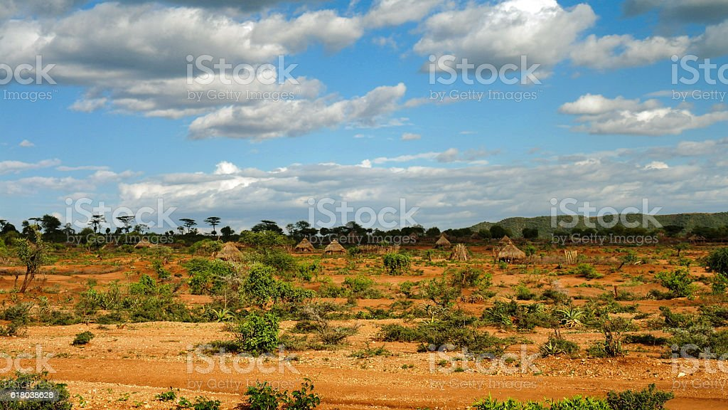 Landscape of the Village Hamar tribe Ethiopia stock photo