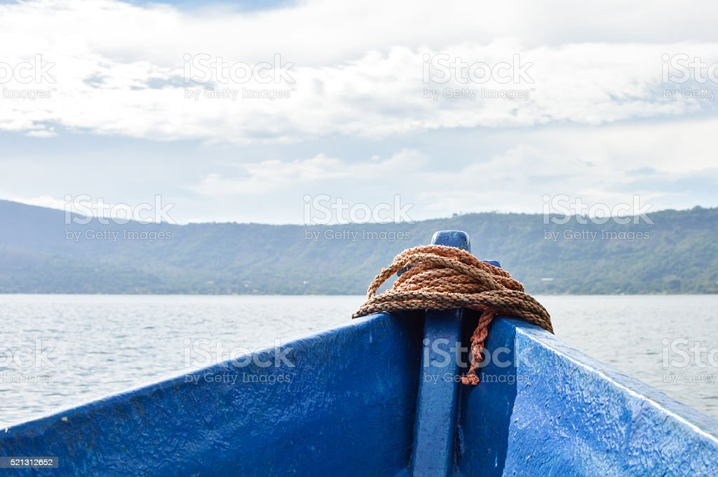 Landscape of the volcanic caldera Lake Coatepeque in El Salvador stock photo