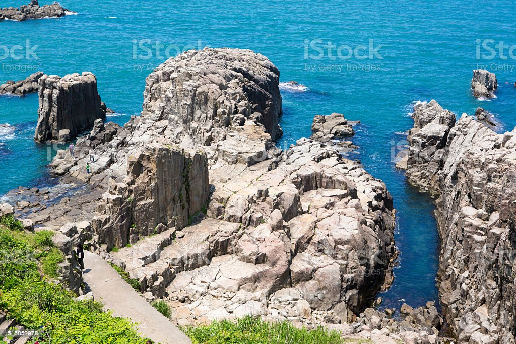 Landscape of Tojinbo Cliff, Mikuni cho, Sakai, Japan stock photo
