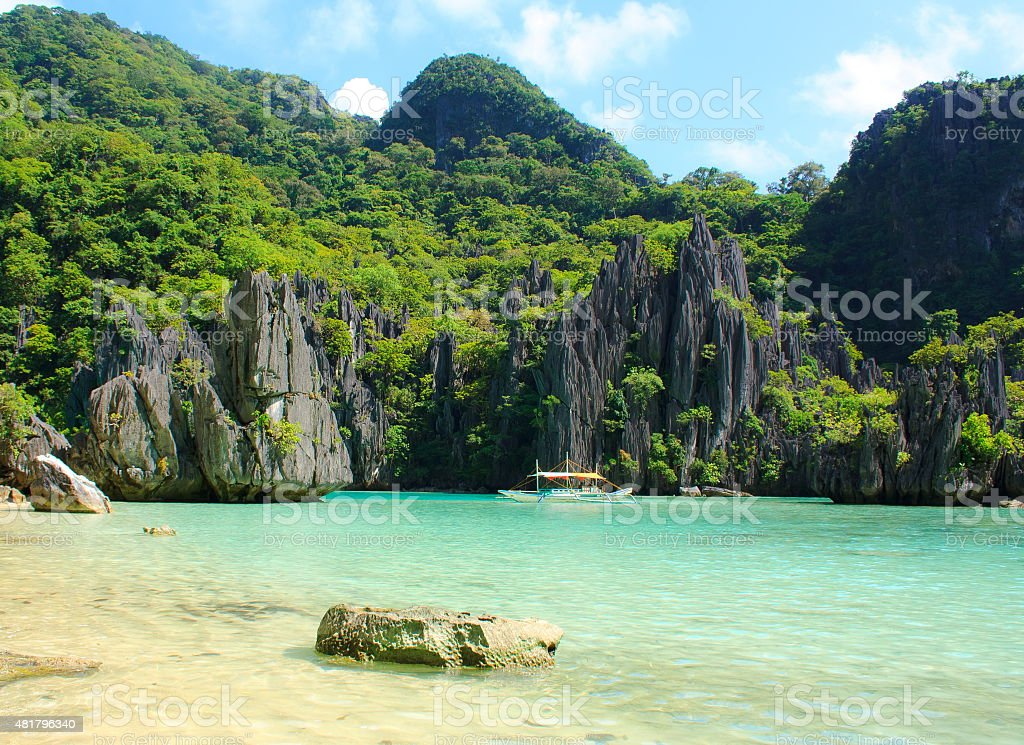 Landscape of tropical island. Palawan. Philippines. stock photo