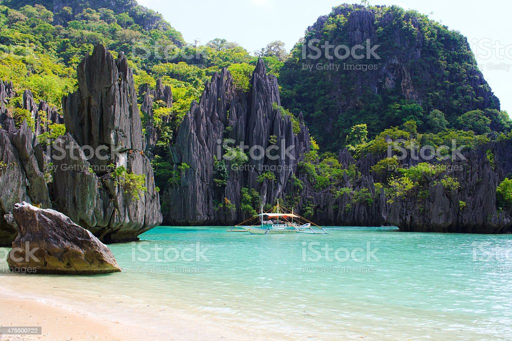 Landscape of tropical island. stock photo
