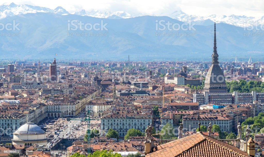 Landscape of Turin city center stock photo