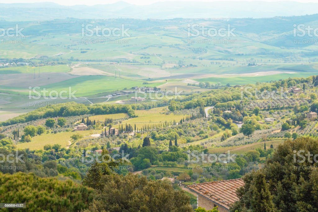 Landscape of tuscan countryside in spring stock photo