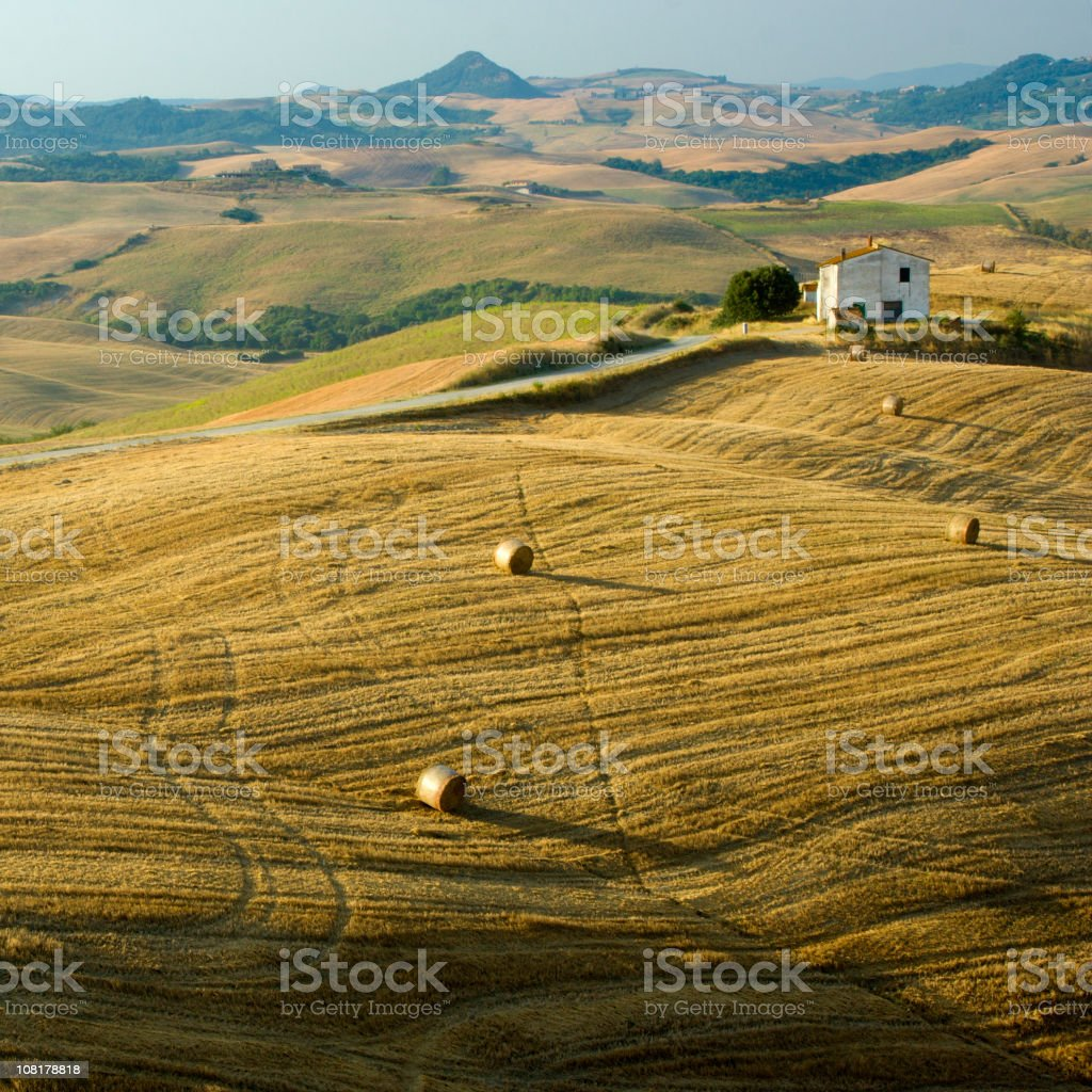 Landscape of Tuscany Countryside and Farm Fields stock photo