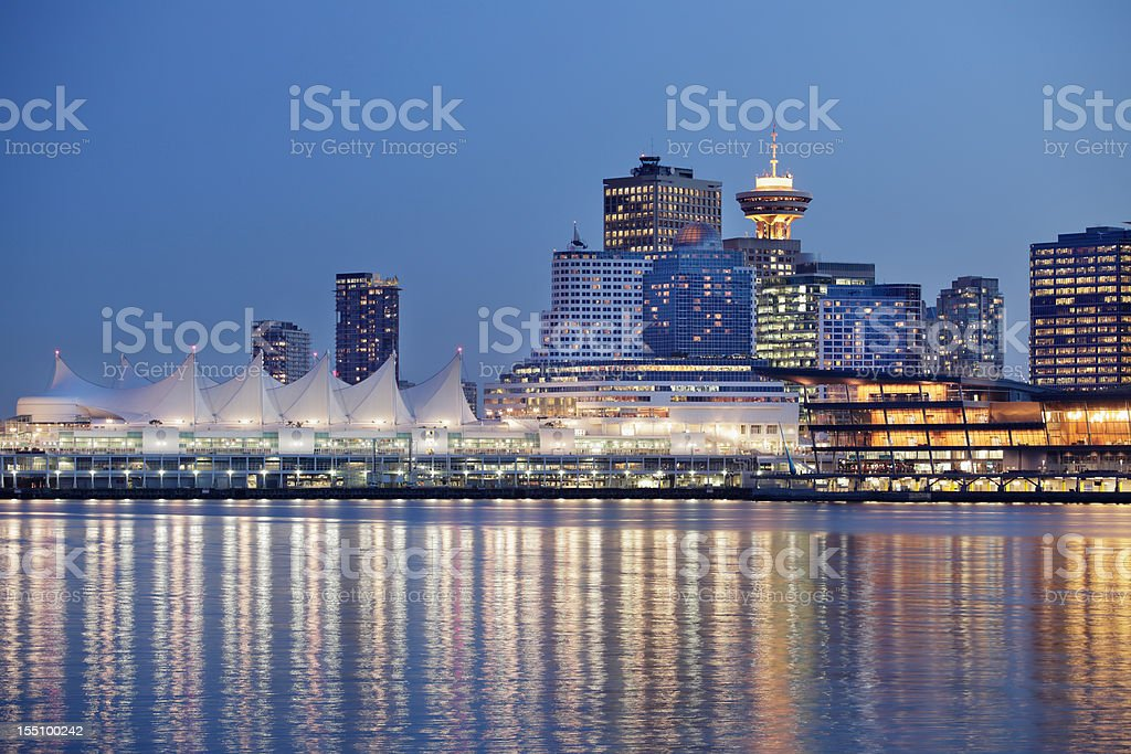 Landscape of Vancouver Over River Reflecting City Lights stock photo