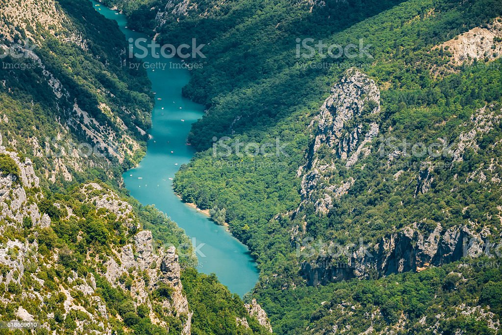 Landscape of Verdon Gorge and river Le Verdon in France stock photo