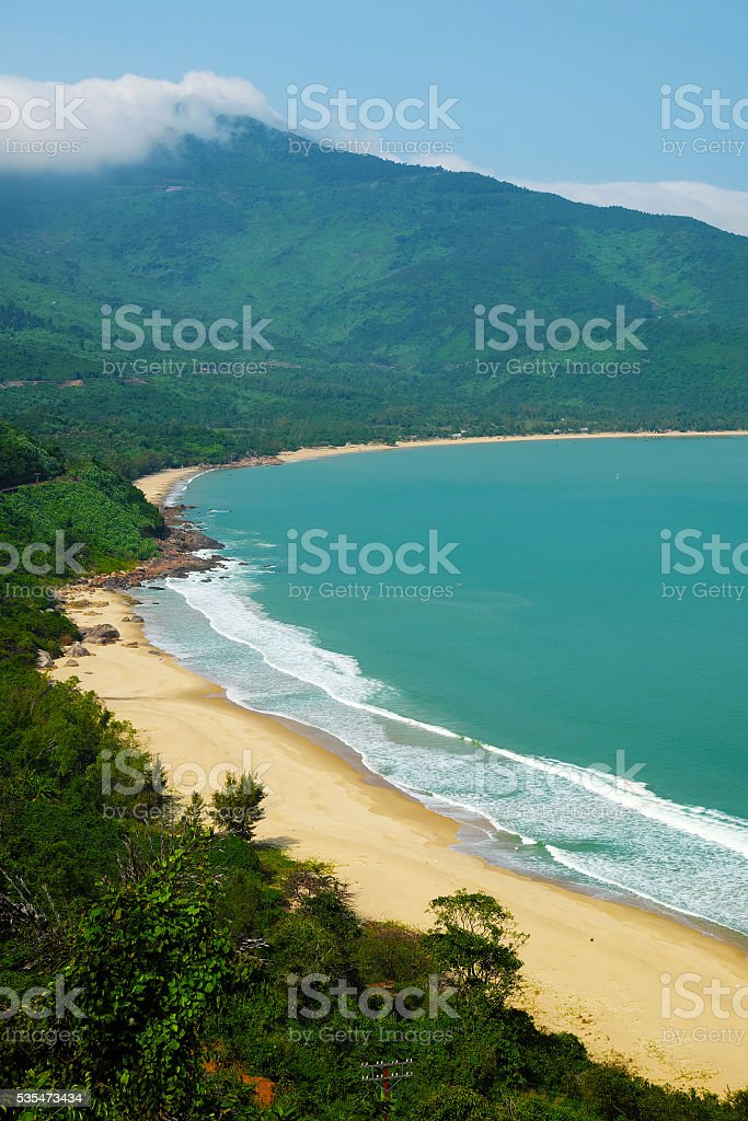 landscape of Vietnam beach, eco green seaside stock photo