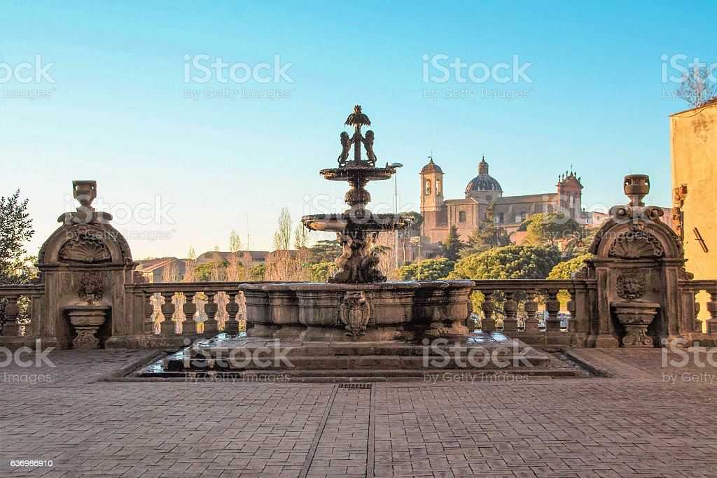 landscape of viterbo from the town hall stock photo