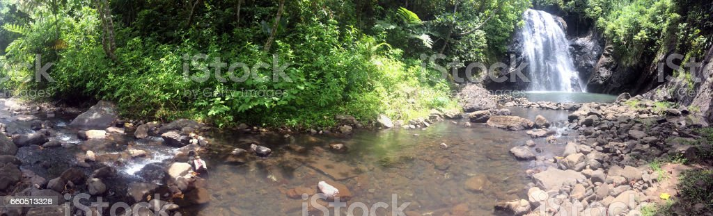 Landscape of Vuadomo Waterfall near Savusavu Fiji stock photo
