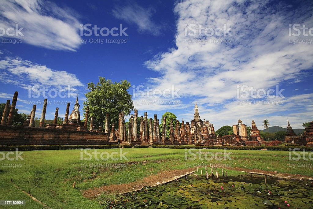 landscape of wat Mahathat against blue sky in Sukhothai royalty-free stock photo
