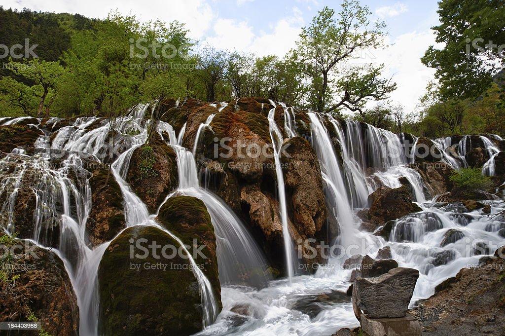 Landscape of waterfall at Jiuzhaigou, Sichuan, China stock photo