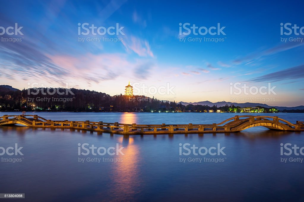 landscape of westlake at night in hangzhou stock photo