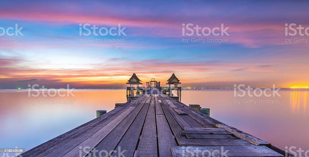 Landscape of Wood bridge stock photo