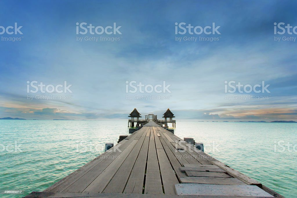 Landscape of Wooded bridge in Thailand royalty-free stock photo