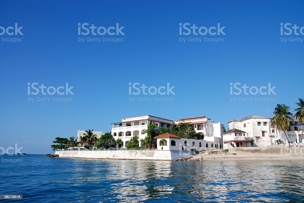 Landscape of Zanzibar stone town on a sunny day stock photo
