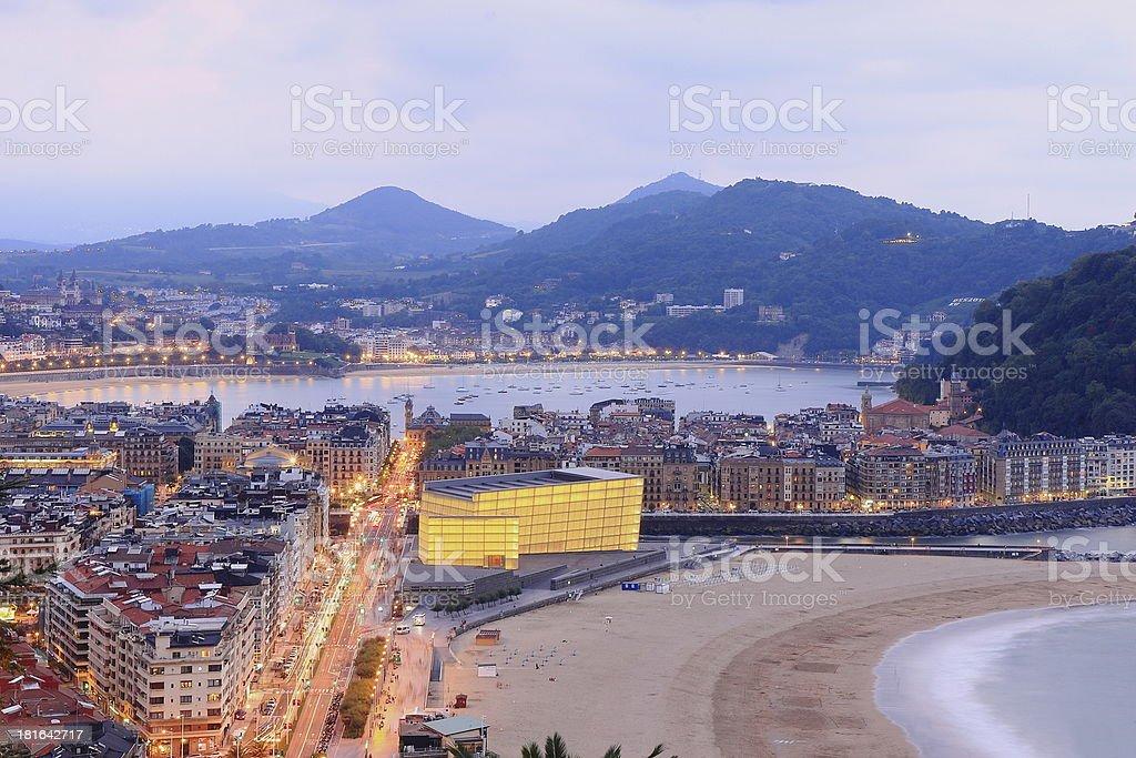 Landscape of Zurriola beach coastline stock photo