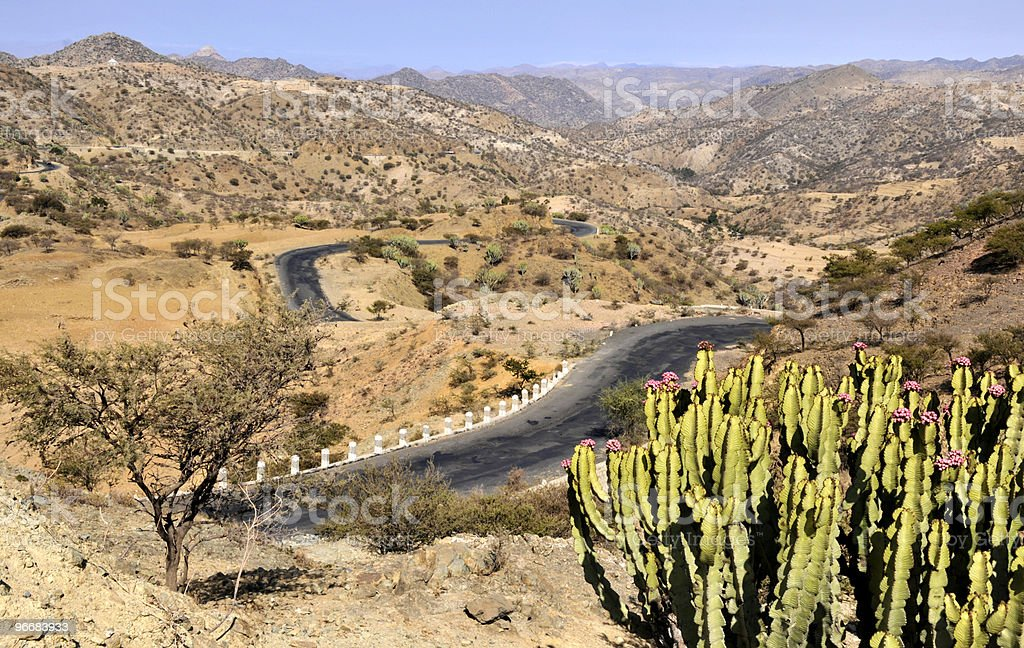 Landscape on road from Asmara to Keren, Eritrea stock photo