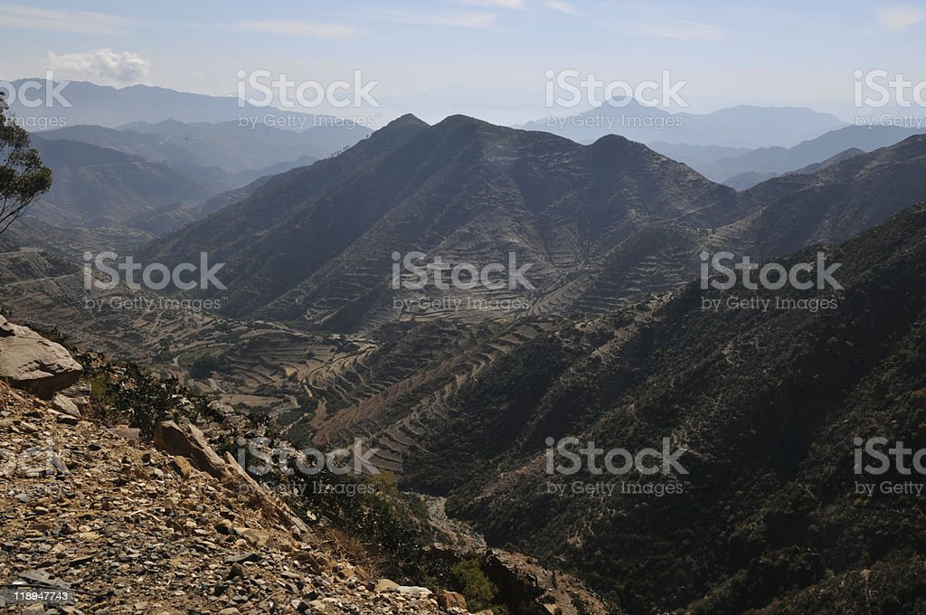 Landscape on road from Asmara to Masawa, Eritrea stock photo