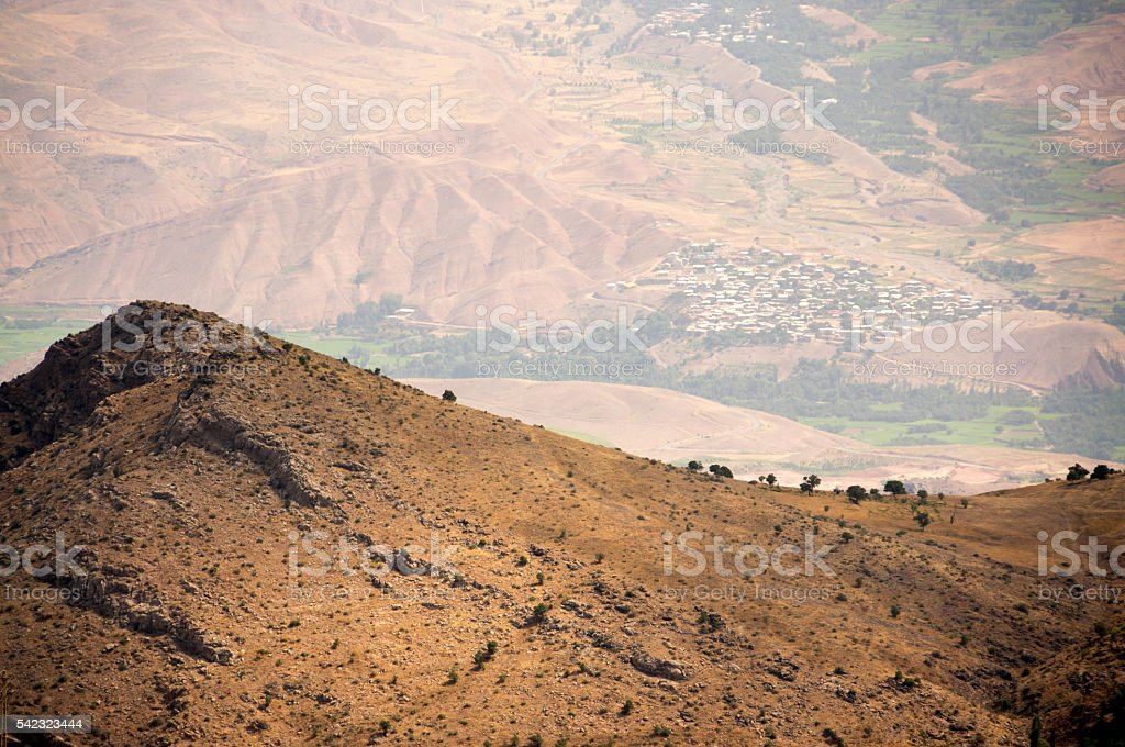 Landscape on sunny day along the Alamut valley, Iran stock photo