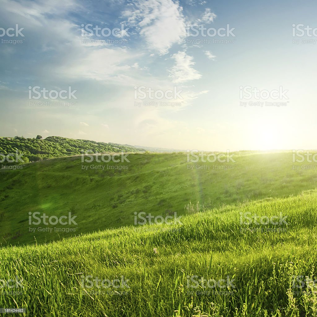 landscape on sunset stock photo