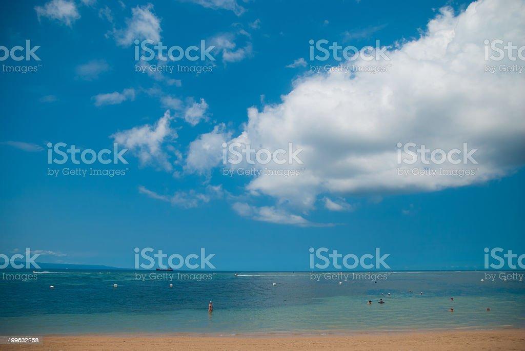 Landscape on the beach of Tanjung Benoa. Bali, Indonesia. stock photo