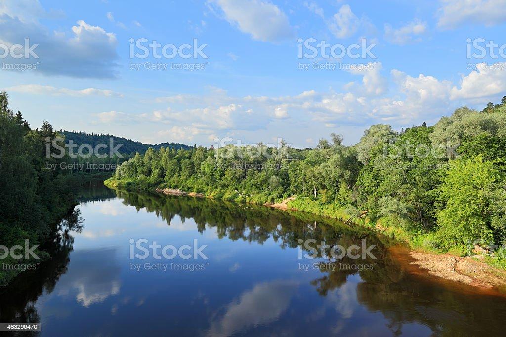 Landscape on the river Gauja, Sigulda - Latvia stock photo