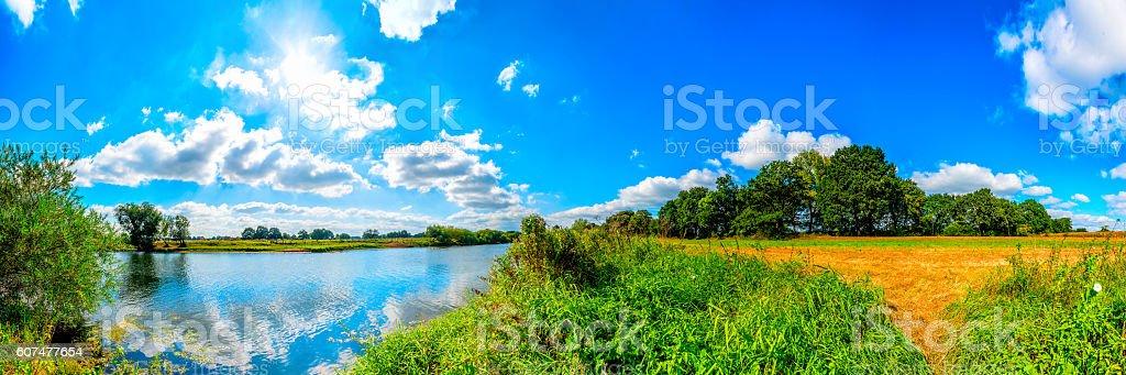 Landscape on the riverside stock photo