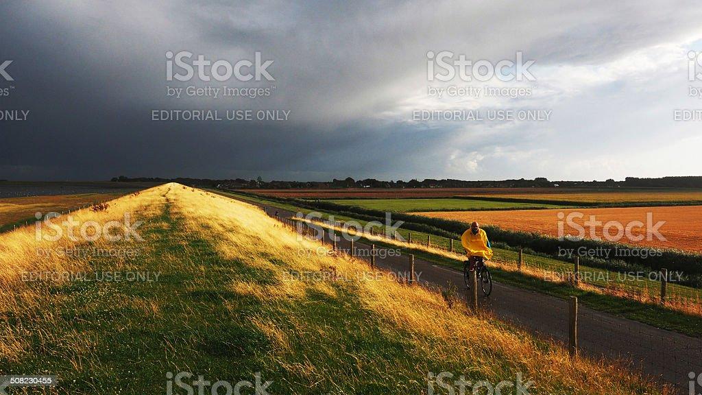 Landscape on the Wadden Island Texel, Netherlands stock photo