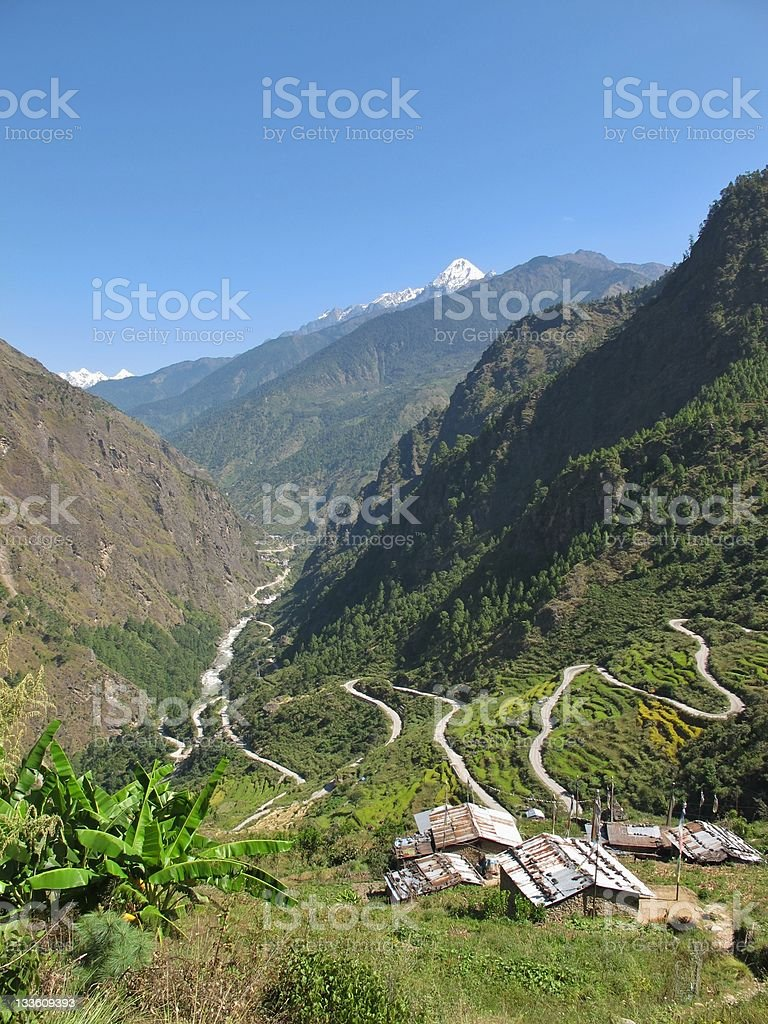Landscape on the way to Langtang stock photo