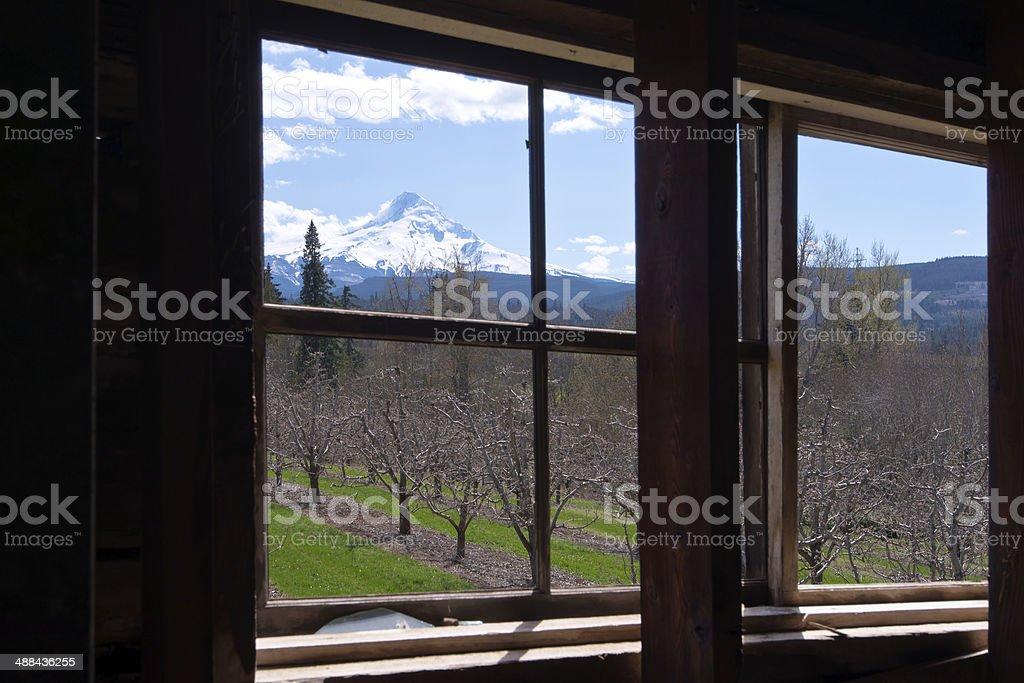 Paesaggio esterno della finestra della vecchia casa foto stock royalty-free