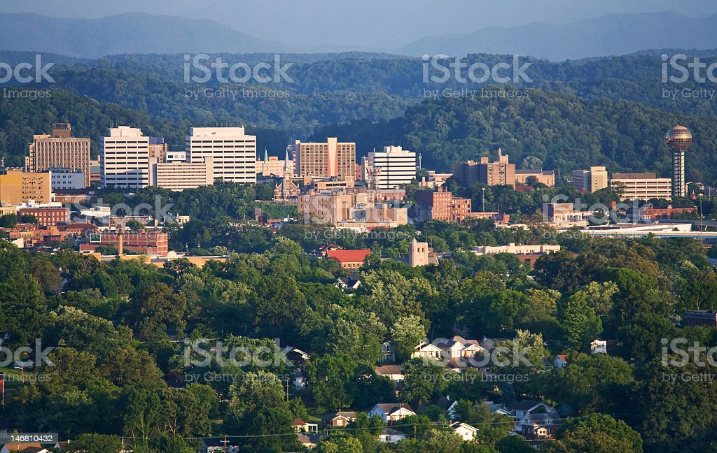 Landscape overheard view of Knoxville, Tennessee stock photo