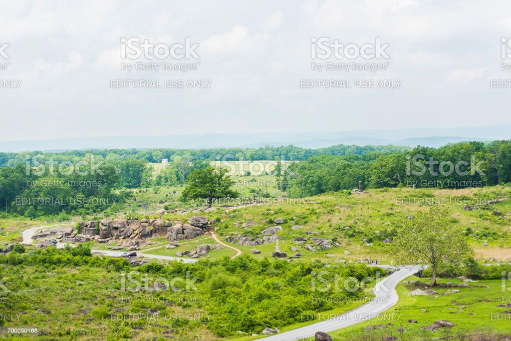 Landscape overlook view from Little Round Top in Gettysburg battlefield national park overlooking Devil's Den stock photo