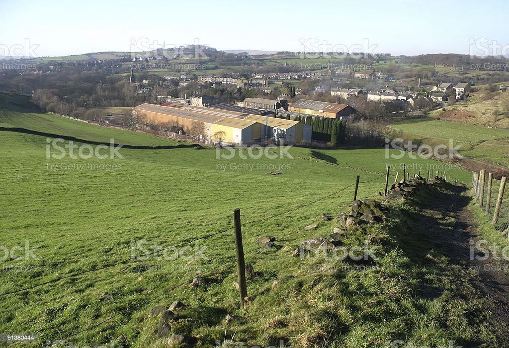 Landscape overlooking old factories. stock photo
