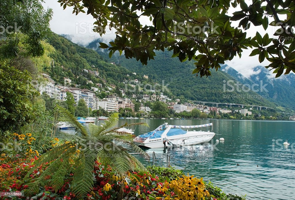 landscape overlooking the Montreux and yachts, Switzerland royalty-free stock photo