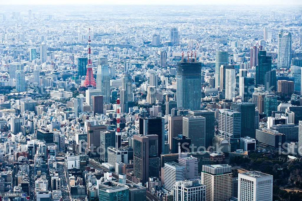 Landscape overlooking the TOKYO TOWER. royalty-free stock photo