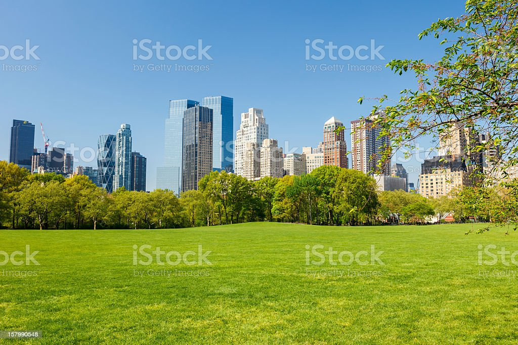 Landscape overview of Central Park, New York stock photo
