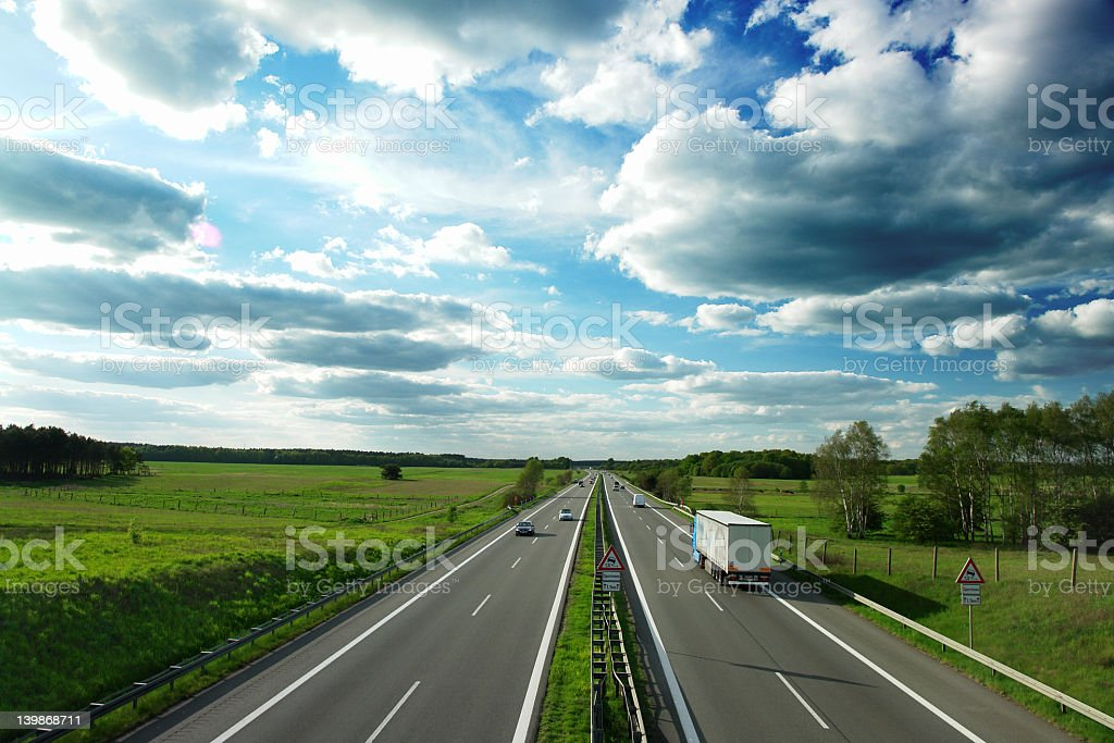 Landscape overview of German Autobahn stock photo