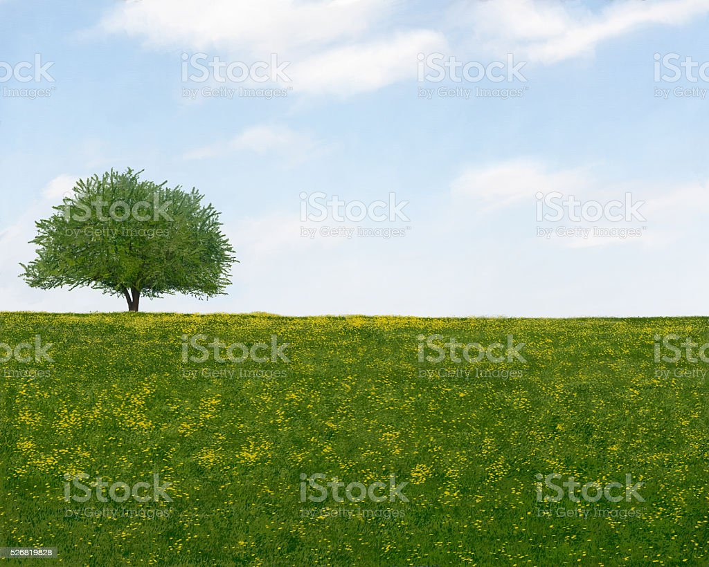 Landscape Painting of a field of yellow flowers with a single tree stock photo